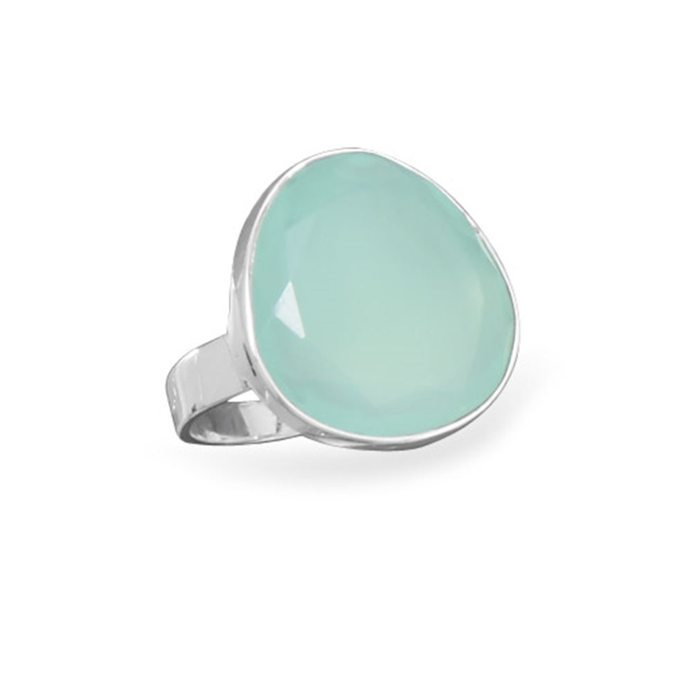 Freeform Faceted Dyed Sea Green Chalcedony Ring Sterling Silver by unknown