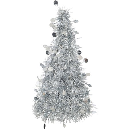 (3 pack) Tinsel Christmas Tree Centerpiece Decoration, 10.25