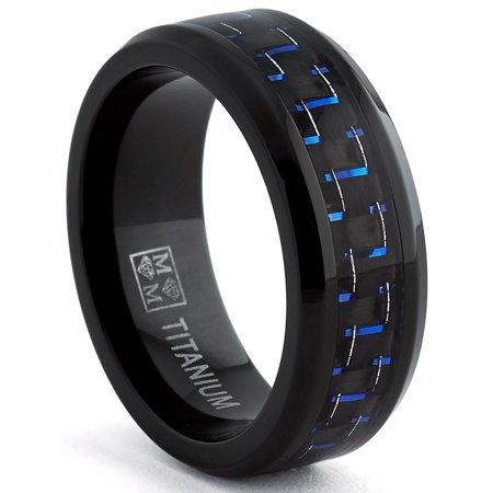 Men's Black Titanium Wedding Band Ring with Black and Blue Carbon Fiber inlay, Comfort fit 8mm, Sizes 6 to 15