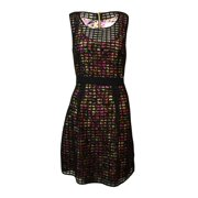 Jessica Simpson Women's Printed Sheer Grid A-Line Dress