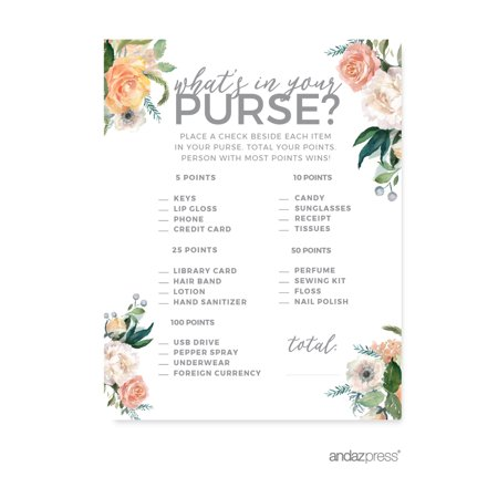 Peach Coral Floral Garden Party, What's in Your Purse? Bridal Shower Game Cards, - Garden Party Ideas