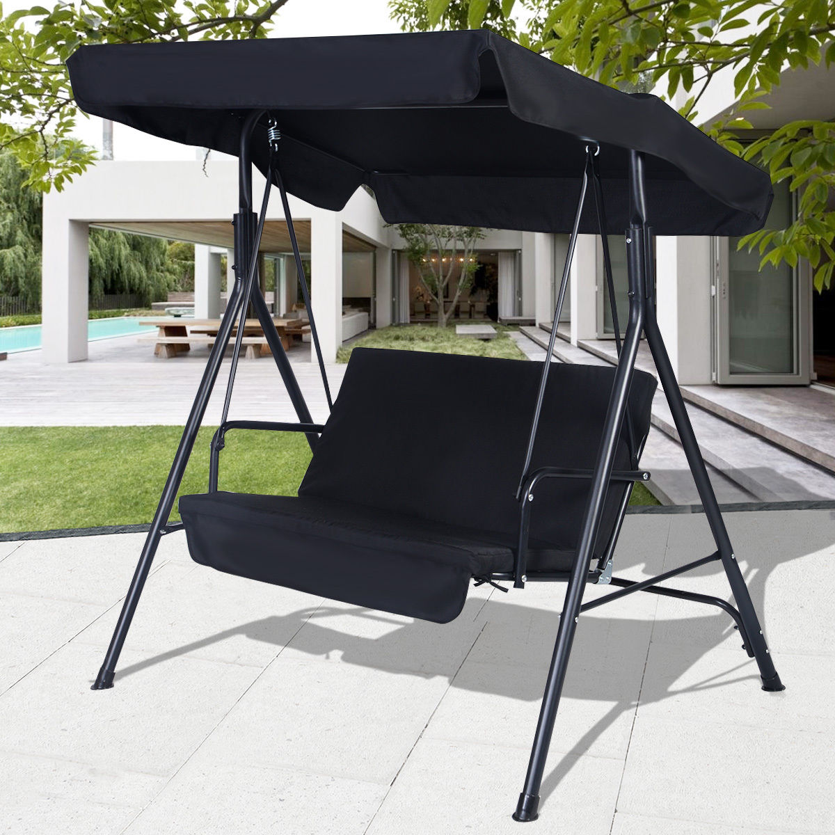 Costway 2 Person Outdoor Patio Swing Canopy Awning Yard Furniture Hammock Steel Black & Costway 2 Person Outdoor Patio Swing Canopy Awning Yard Furniture ...