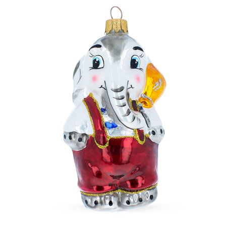 Elephant With Balloon Mouth Blown Glass Christmas Ornament 5.1 Inches](Balloon Ornaments)