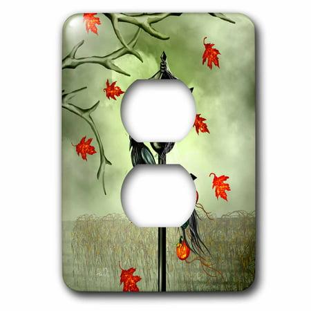 3dRose Halloween Crow, Street Lamp, Black Widow, JackoLanterns, Shrunken Head - 2 Plug Outlet Cover