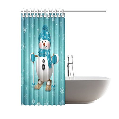 GCKG Skling Snowman Shower Curtain, Christmas Cartoon Character Polyester Fabric Shower Curtain Bathroom Sets with Hooks 60x72 Inches - image 1 of 3