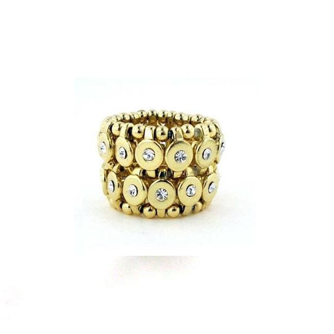 Zirconmania 622R-0028G Goldtone Clear Crystal 2-row Disc Stretch Fashion Ring