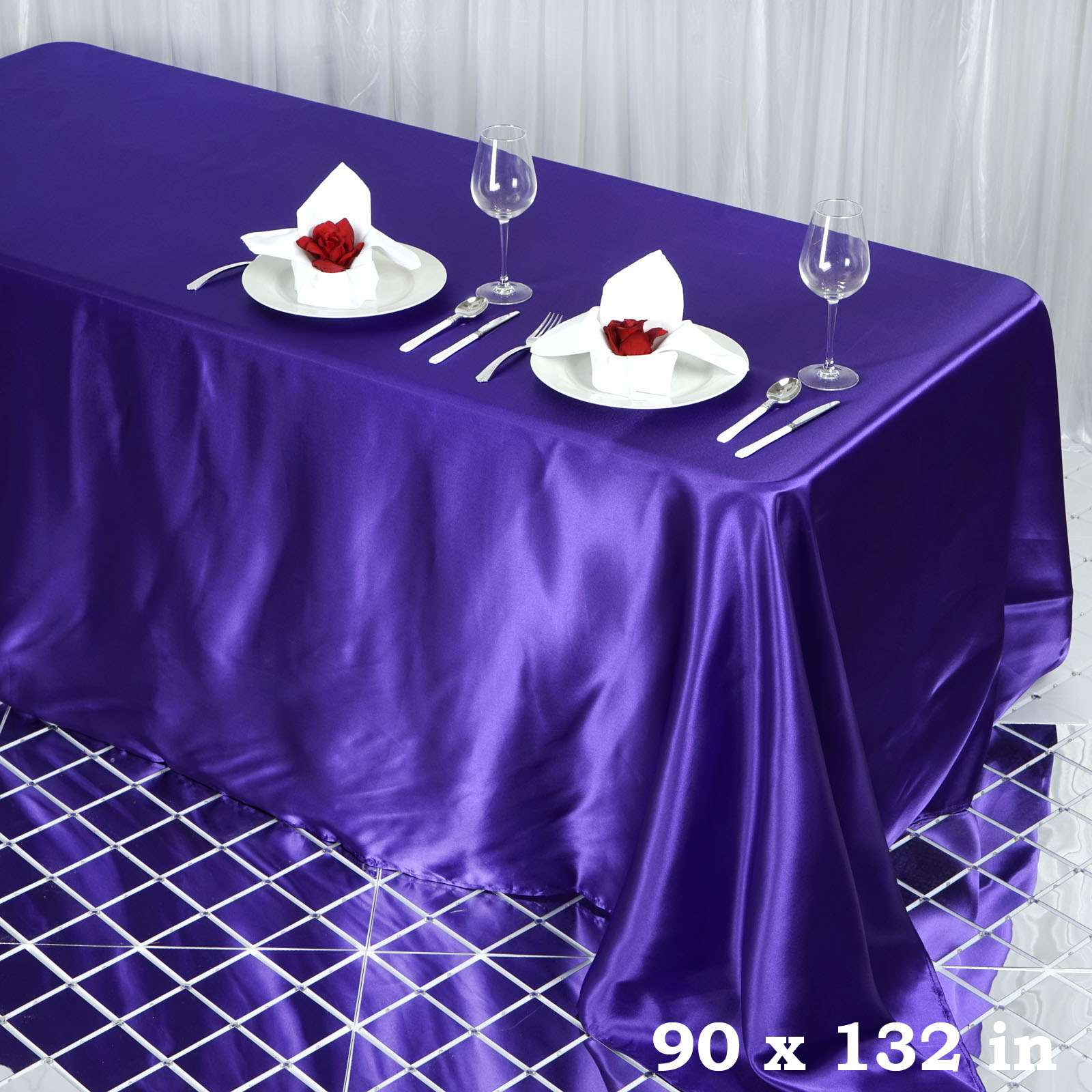 """BalsaCircle 90"""" x 132"""" Rectangular Satin Tablecloth Table Covers for Party Wedding Reception Catering Dining Home Table Linens"""