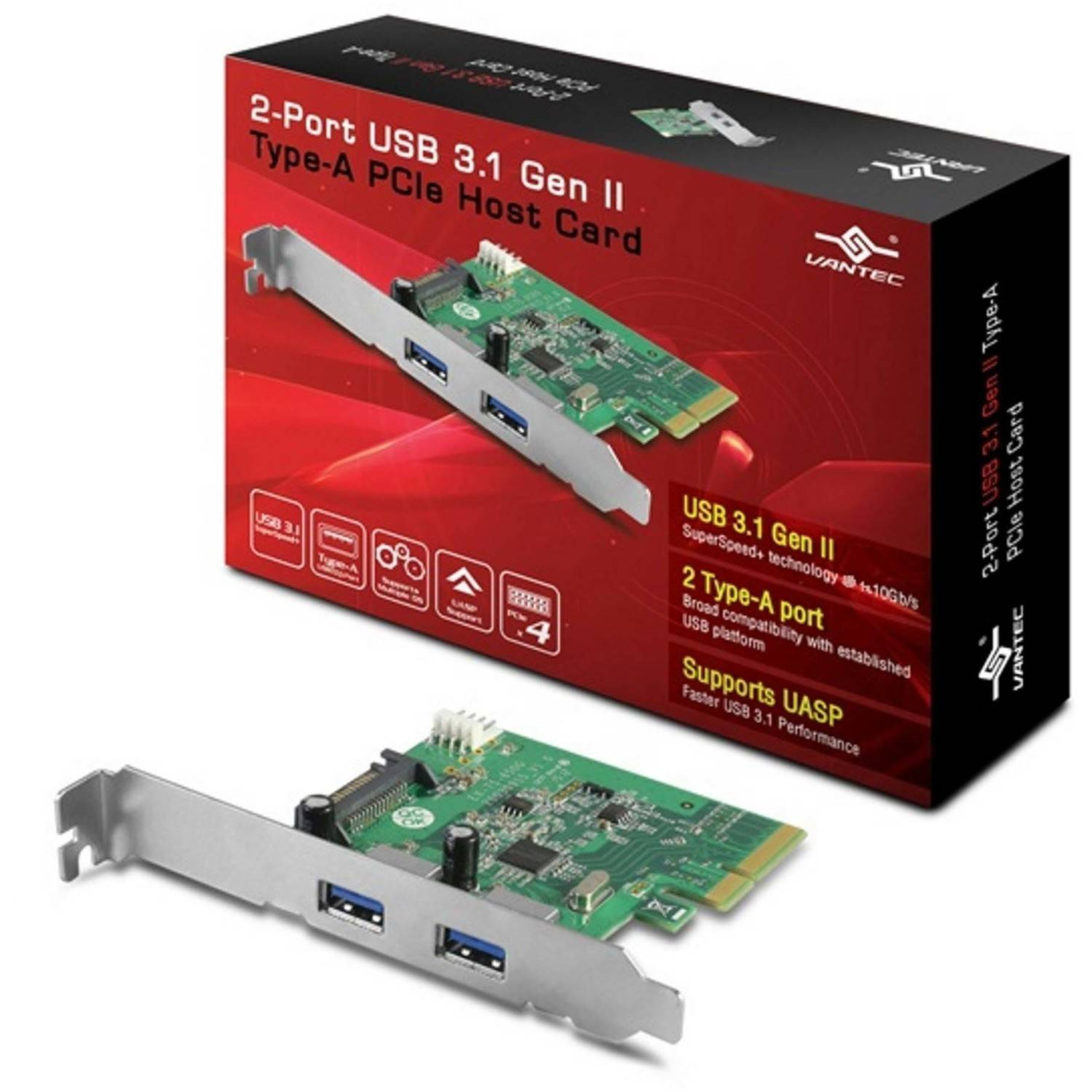 Vantec UGT-PC370A 2-Port USB 3.1 Gen II Type-A PCIe Host Card, Silver