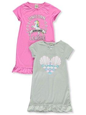 Sweet n Sassy Girls' Unicorn League 2-Pack Nightgowns (Big Girls)