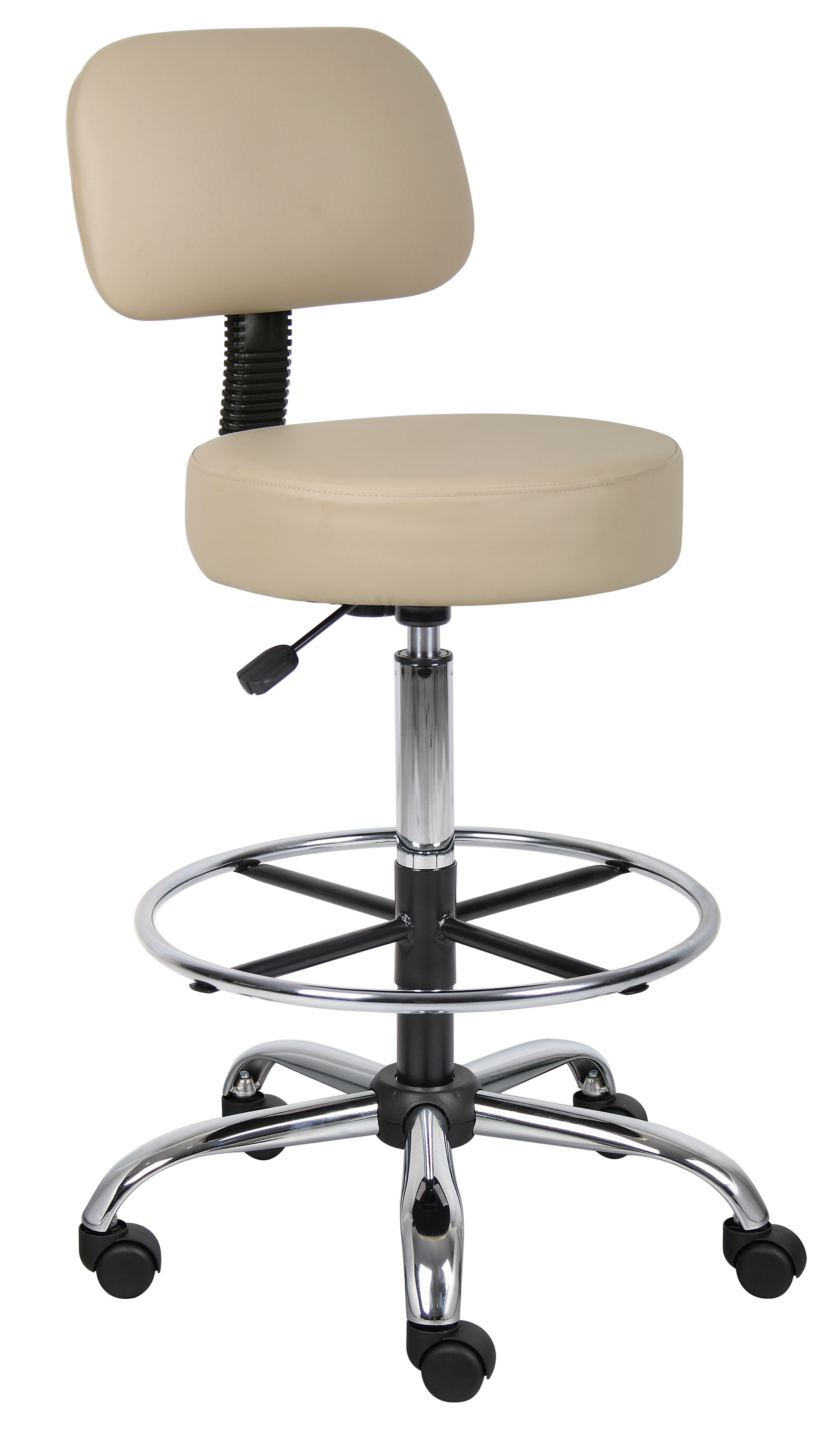 Boss Office Products Black Drafting Stool With Back Cushion   Walmart.com