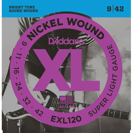 D'Addario EXL120 Nickel Wound Electric Guitar Strings, Super Light, 09-42 - Nickel Rockers Electric Guitar Strings