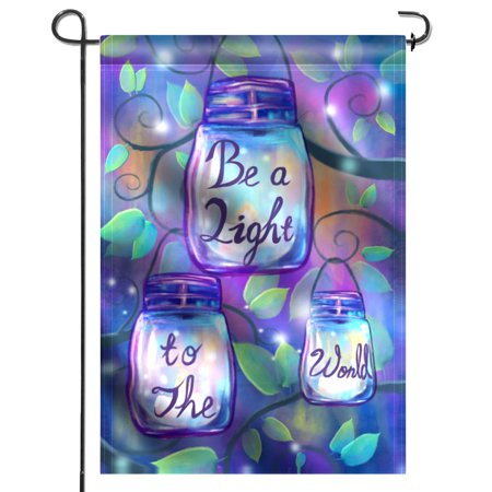 ANLEY [Double Sided] Premium Garden Flag, Be A Light To The World Candles in Jars Decorative Garden Flags - Weather Resistant & Double Stitched - 18 x 12.5 Inch