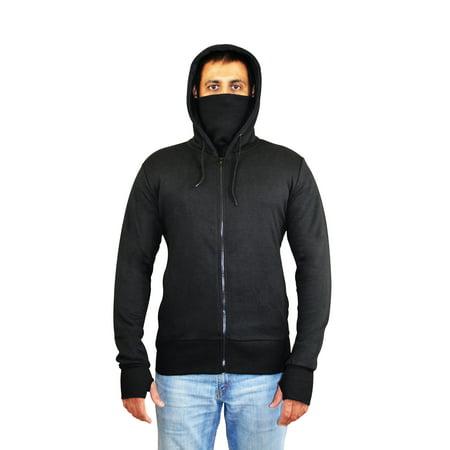 SkylineWears Men's Fashion Activewear Hoodie Ninja Style Sweatshirt Black Small