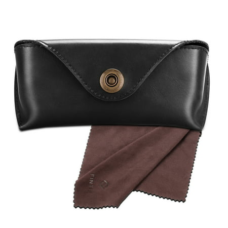 Eyeglasses Case - Fintie Semi-Hard PU Leather Sunglasses Glasses Carrying Case Eyewear Pouch w/ Snap Button Closure