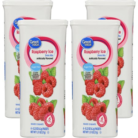 (12 Pack) Great Value Drink Mix, Raspberry Ice, Sugar-Free, 1.31 oz, 6