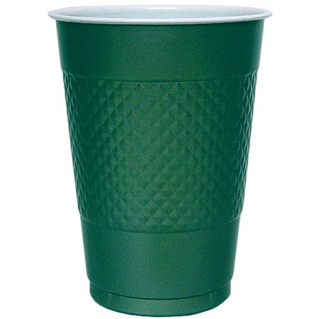 Hanna K Plasticware, Plastic Cup, Hunter Green, 16 Oz, 50 Ct