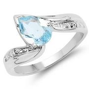 Malaika  1.30 Carat Genuine Blue Topaz .925 Sterling Silver Ring