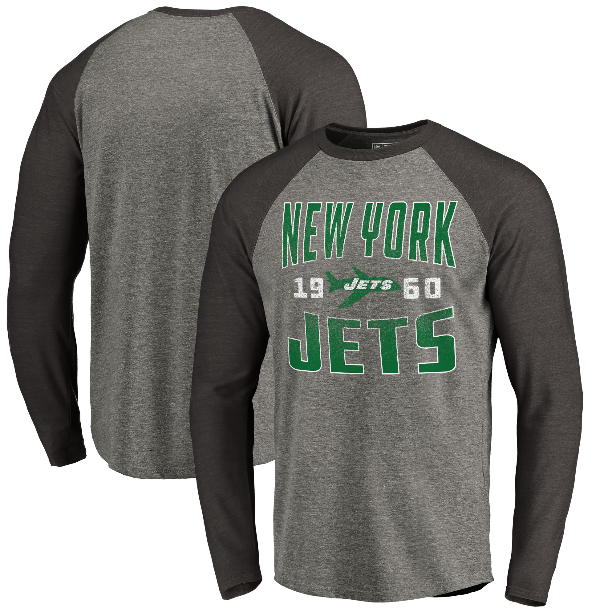 New York Jets NFL Pro Line by Fanatics Branded Timeless Collection Antique Stack Big & Tall Long Sleeve Raglan T-Shirt - Ash