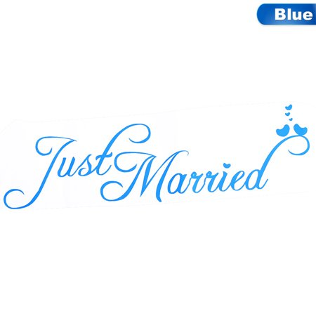 Fancyleo Just Married Wedding Car Window Banner PVC Waterproof Sticker Decal Vinyl Personalised Decor Car Decoration Wedding Supplies Pvc Window Accessories