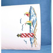 Herrschners Lighthouse Pillowcase Pair Stamped Cross-Stitch