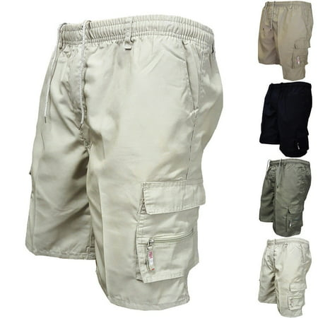 Mens Summer Casual Cargo Shorts Elasticated Half Pant Work Trousers Sport