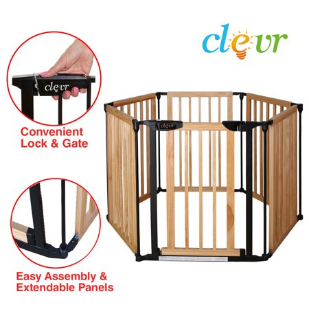 New Clevr 3 In 1 Baby 6 Panel Playard Wooden Gate Fence Playpen