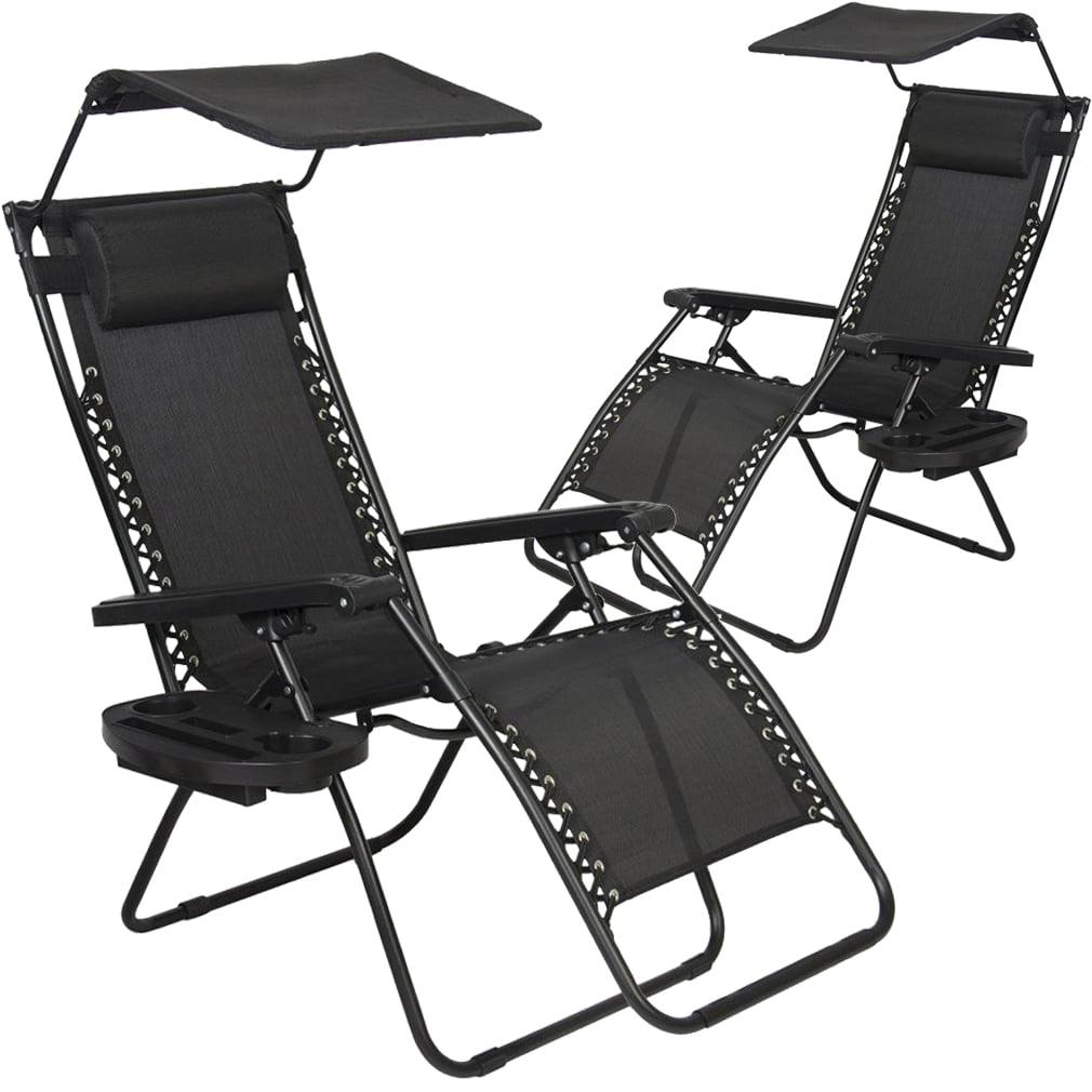 2 Pcs Zero Gravity Chair Lounge Patio Chairs With Canopy Cup Holder Walmart Com Walmart Com