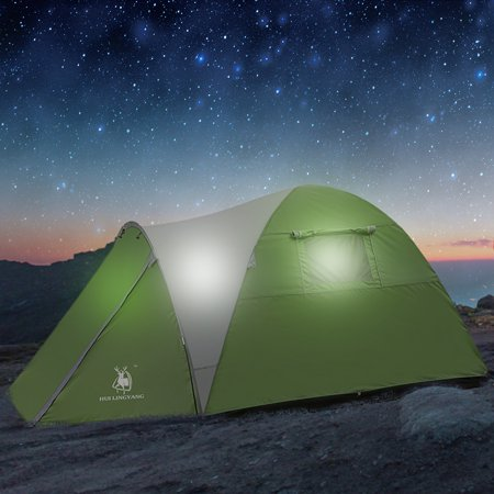 IClover Outdoor Camping Tent Foldable One Room One Hall Double-Layer Large Tent for Family Party Travel Vacation, 2/3 Person,Green Suitable for Families or