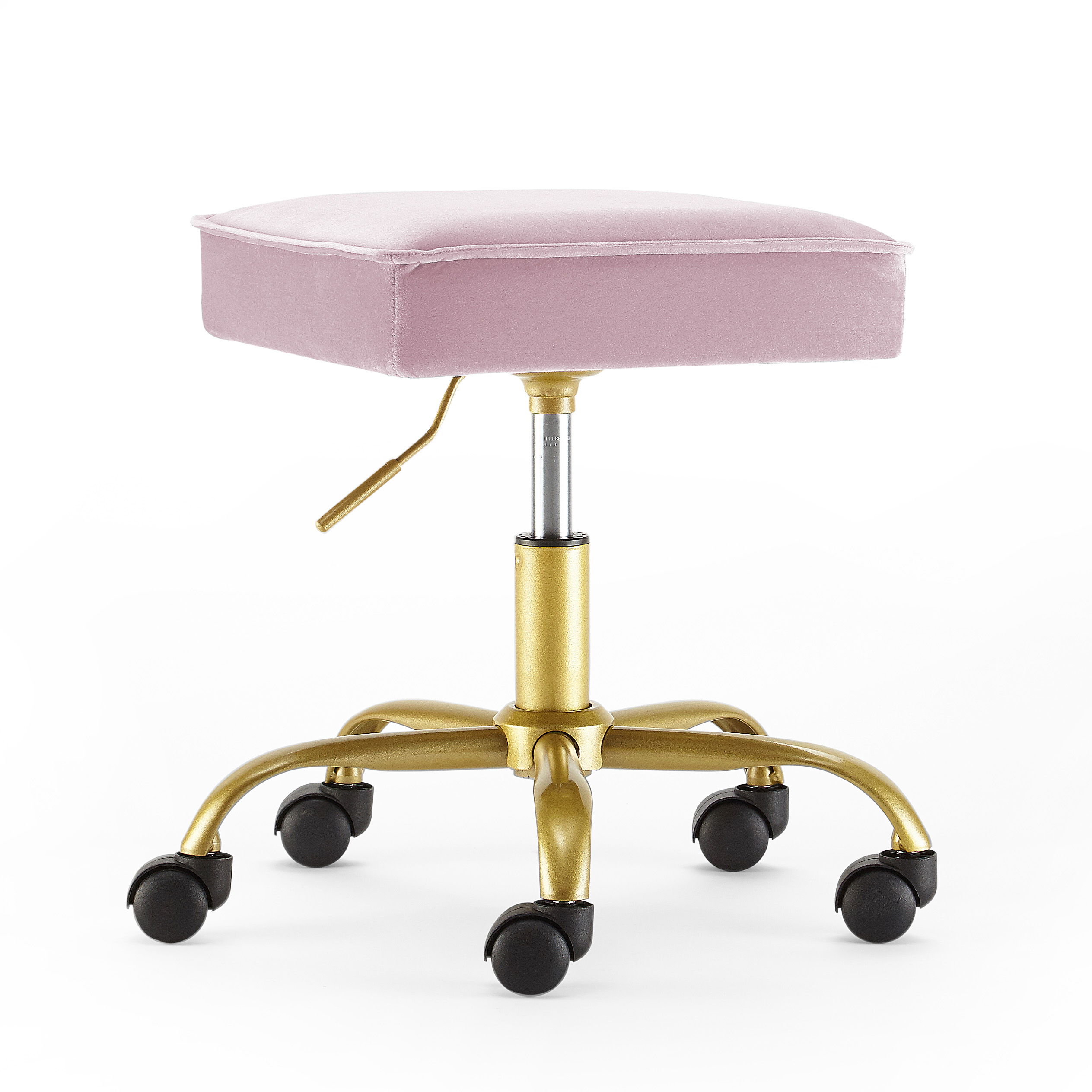 Velvet Petal Stool, Blush/Gold