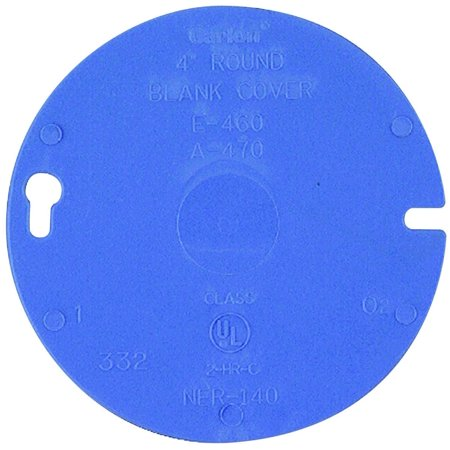 Carlon E460R-CAR Blank Round Outlet Box Cover, 4 in Dia, Blue PVC