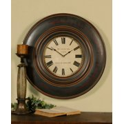 """24"""" Classical Brown Rustic Round Wooden Wall Clock"""
