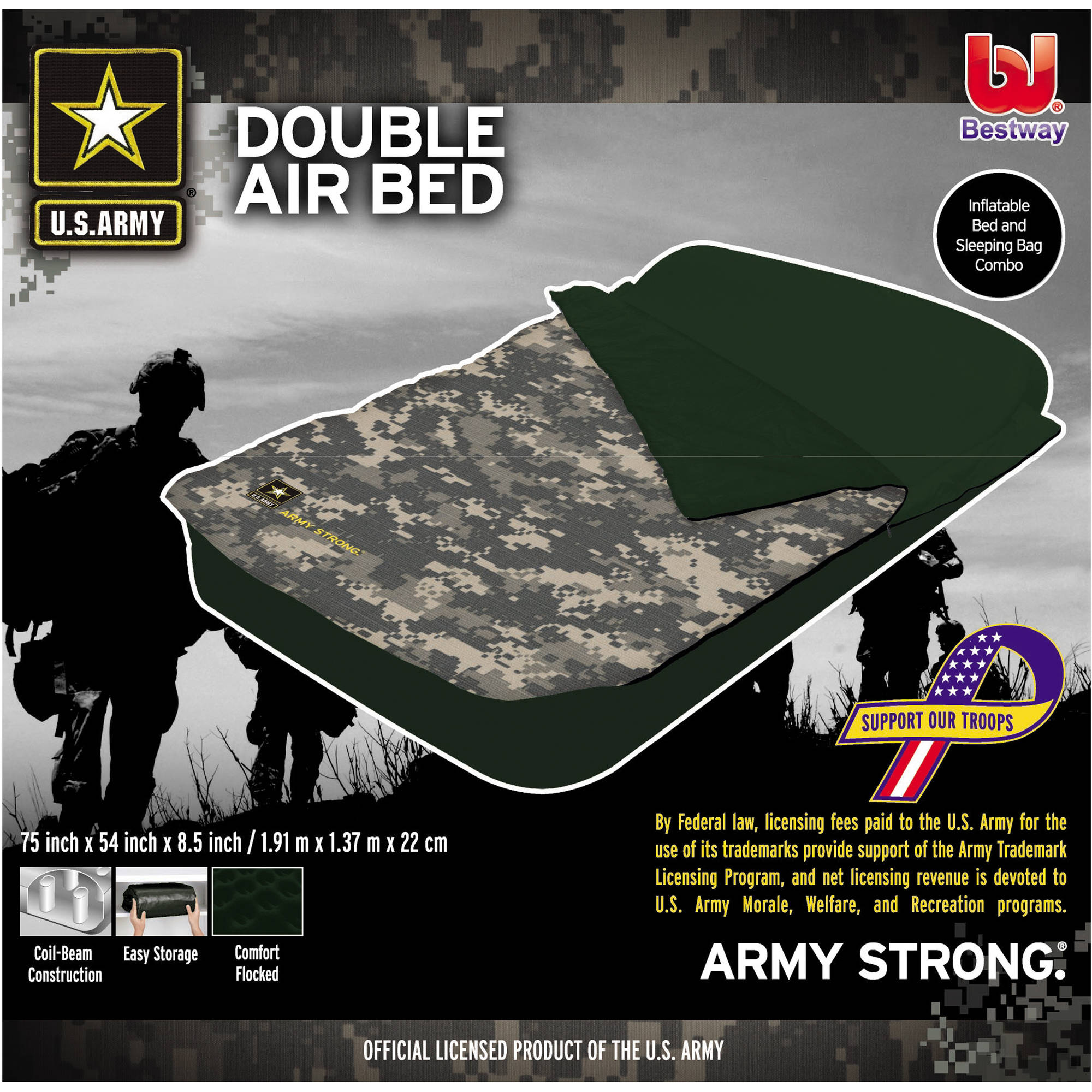 Bestway US Army Full-Size Air Bed with Sleeping Bag - Walmart.com