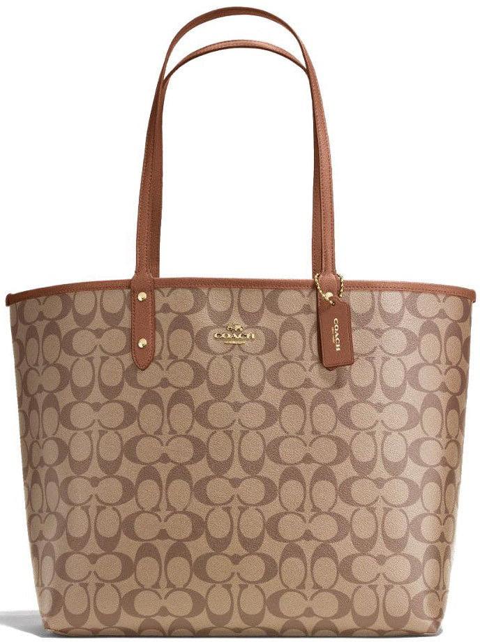 0a3c22bfa ... italy new coach f36658 signature reversible pvc city tote saddle brown  khaki handbag 29dd5 f18c7
