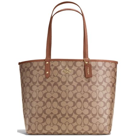 Coach Womens Handbag Tote (NEW COACH (F36658) SIGNATURE REVERSIBLE PVC CITY TOTE SADDLE BROWN KHAKI HANDBAG )