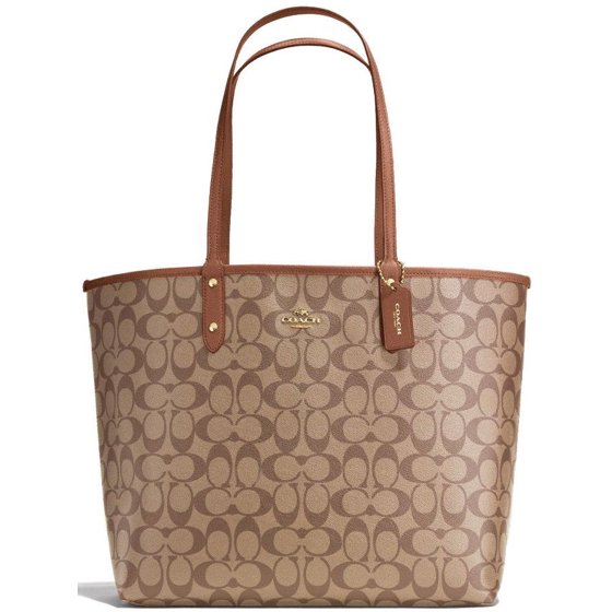e0883e92 NEW COACH (F36658) SIGNATURE REVERSIBLE PVC CITY TOTE SADDLE BROWN KHAKI  HANDBAG