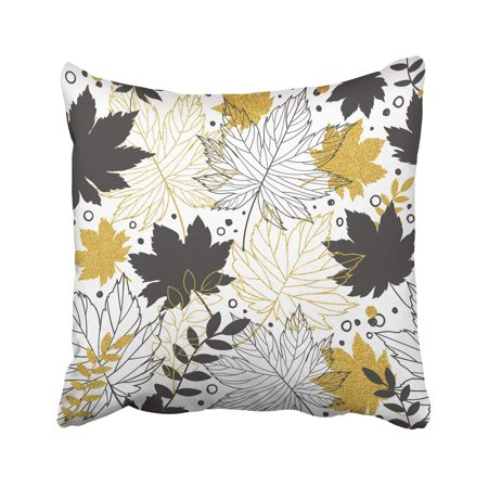 BPBOP Black Leaf Gold Autumn Leaves With Glitter Stylish Design White Bag Doodle Elegant Fall Pillowcase Cover 20x20 inch