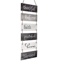 "Large Hanging Wall Sign: Rustic Wooden Decor Blessed Theme (11.75"" x 32"") - EGP-HD-0136"