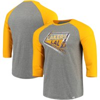 Los Angeles Lakers Majestic Scoring Position Tri-Blend 3/4-Sleeve Raglan T-Shirt - Heathered Gray/Gold