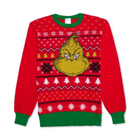 The Grinch NEW Red Mens Size XL Pullover Crewneck Holiday - Life Size Grinch Cut Out