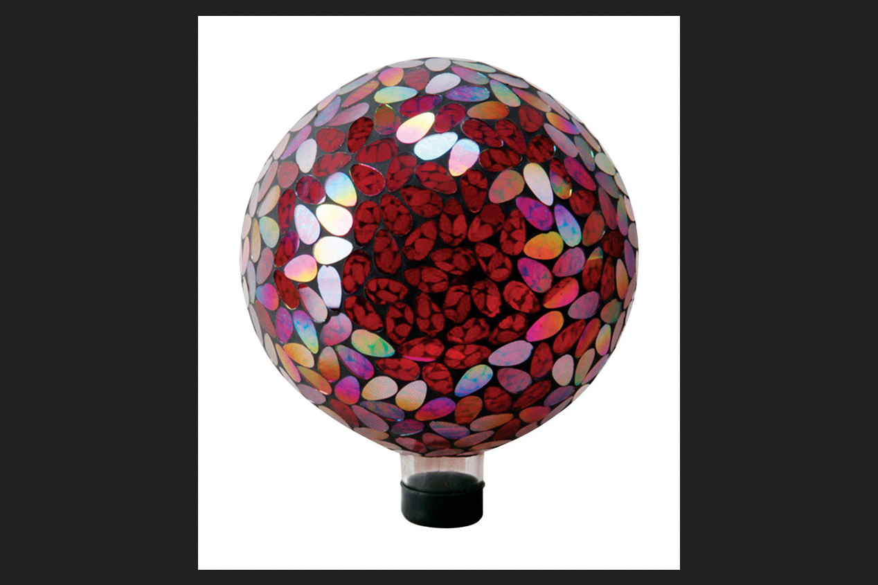 Alpine Glass Red 11 in. H Mosaic Gazing Ball by Alpine