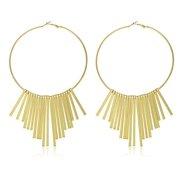 Goldtone 100mm Dangle Fringe Style Hoop Earrings
