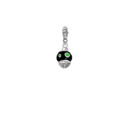 Silvertone Lime Green Dots on Black Spinner - Rope Charm Bead