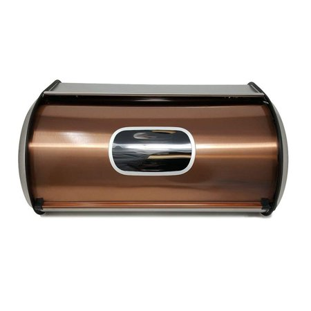 Modern Stylish Bread Box Copper Stainless Steel with Sliding Lid Large Bread Storage Bin with Visual Window - Keep Bread Fresh & Mold - Bread Box Window