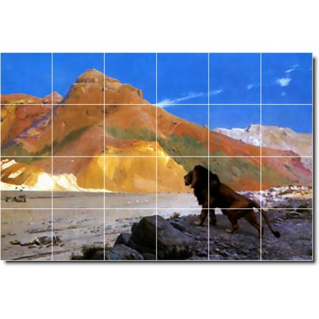 Ceramic Tile Mural Jean Gerome Animals Painting 38 36 w x 24 h using
