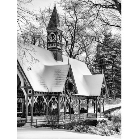 Wood House Snowy Winter in Central Park New York City Print Wall Art By Philippe Hugonnard - Halloween City Winter Park