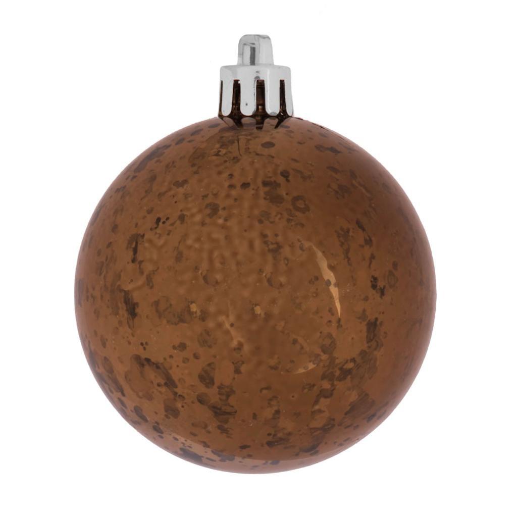 "Vickerman 464632 - 4"" Chocolate Shiny Mercury Ball Christmas Tree Ornament (6 pack) (M166375)"