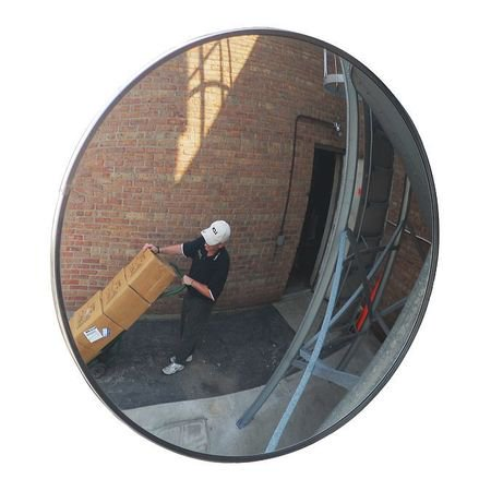 3YRT3 26 Dia Outdoor Convex Mirror, Acrylic Adjustable Louver Acrylic Mirror
