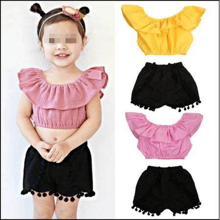 Short Girls Tube (Hirigin Cute Baby Girls Short Sleeve Blouse Tube Top+High Waist Pom Pom Short)