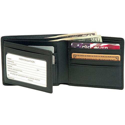 Royce Leather Men's Bifold Wallet With Double ID Flap in Genuine Leather