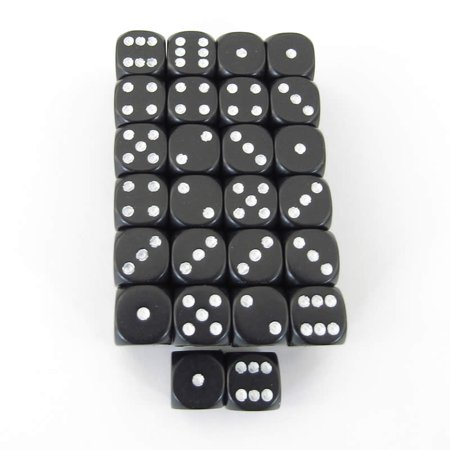Bulk Dice (Black Opaque Dice with White Pips D6 12mm (1/2in) Bulk Pack of 50)